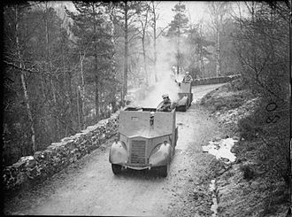 British anti-invasion preparations of the Second World War - Standard Mk II Beaverette II light reconnaissance cars manned by members of the Home Guard in the Highlands of Scotland, 14 February 1941