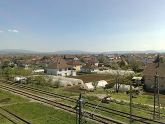 Ilinden (village) - Panorama of Ilinden and the nearby railway
