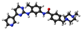 Ball-and-stick model of the imatinib molecule