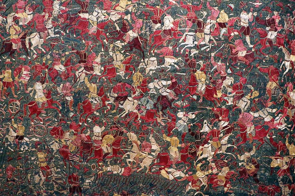 Tissu mural indien représentant une bataille des chevaliers (1600-10) au Museu Nacional de Arte Antiga de Lisbonne.