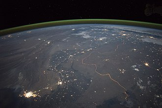 India–Pakistan border - Nighttime panorama of the border, stretching from the Arabian Sea to the foothills of the Himalayas