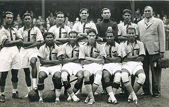 India side that participated in the 1948 Summer Olympics match against France India national team at Olympics 1948.jpg