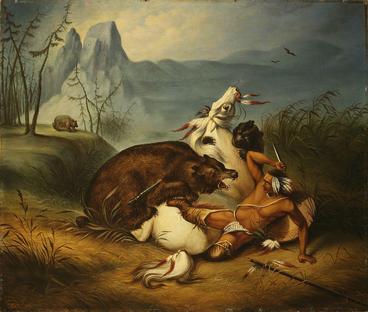 Dela nepoznatih slikara 1209px-Indian_Bear_Fight,_anonymous_painter_%28mid-19th_century%29