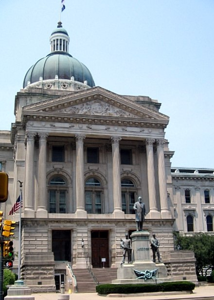 The fifth Indiana Statehouse in Indianapolis built in 1888 on the site of the third statehouse IndianaCapitol.jpg