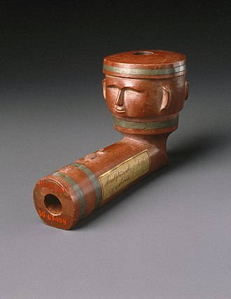 Tobacco pipe - Inlayed Pipe Bowl with Two Faces, early 19th century, Brooklyn Museum