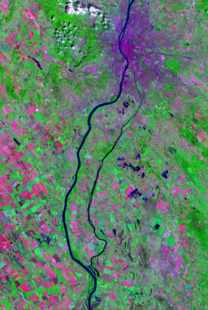 River island - Satellite picture of Csepel Island in Hungary