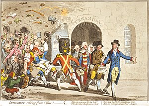 First Parliament of the United Kingdom - In Integrity retiring from Office! (1801), James Gillray caricatured the resignation of Pitt's Ministry in 1801.