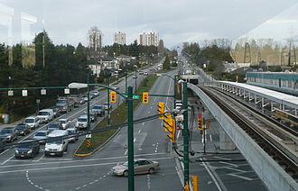 Cambie Street - The intersection of Cambie Street and Southwest Marine Drive, looking northward from the Marine Drive Canada Line station.