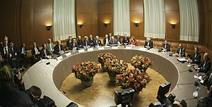 Foreign relations of Switzerland - The ministers of foreign affairs of Germany, the United Kingdom, China, the United States, France, Russia, the European Union and Iran meeting in Geneva for the interim agreement on the Iranian nuclear programme (2013).