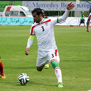 Ehsan Hajsafi - Hajsafi captaining Iran, against Angola, 26 May 2014