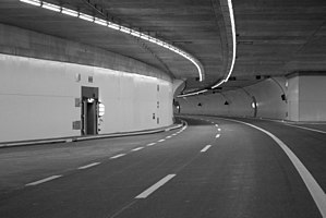 A4 motorway (Switzerland) - The Islisberg-tunnel inside, showing gradual slope.