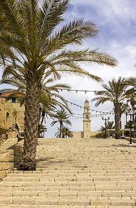 Kikar Kedumim Street and the bell tower of St. Peter's Church