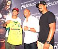 Israel Folau and Will Skelton present Johnson a signed Wallabies jersey 2014.jpg
