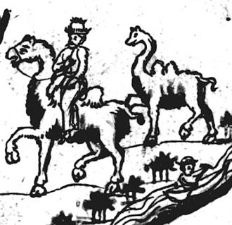 Society of the Mongol Empire - Kalmucks and Mongols riding camels over the Great Steppe