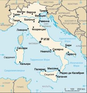 Карта география италии