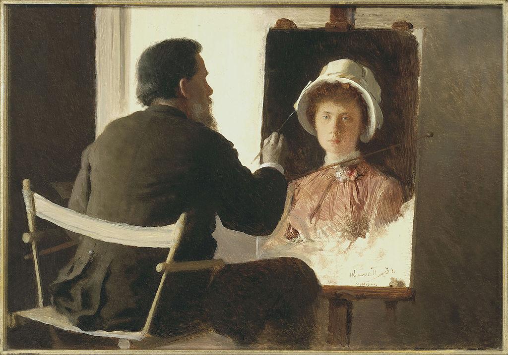 File:Ivan Kramskoy, Kramskoy Painting a Portrait of his Daughter ...