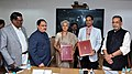 J.P. Nadda and the Union Minister for Agriculture and Farmers Welfare, Shri Radha Mohan Singh witnessing the signing ceremony of an MoU between Indian Council of Medical Research (ICMR) and Indian Council of Agricultural.jpg