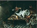 Jacob Biltius- Iinterior with a swan, a deer and other game on a table and hunting gear.jpg