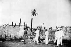 Balangiga massacre - Gen. Jacob Smith and his staff inspect the ruins of Balangiga in October 1901, a few weeks after the US punitive mission by Capt. Bookmiller and his troops
