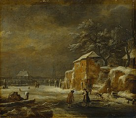 Winter Landscape with Houses and Frozen Canal