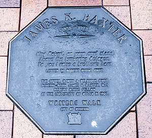 James K. Baxter - Image: James K. Baxter memorial plaque in Dunedin