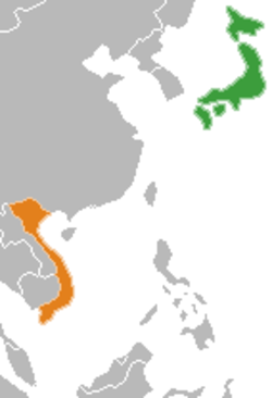 Map indicating locations of Japan and Vietnam