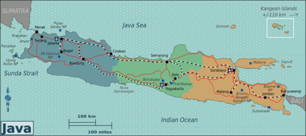 Java travel guide at wikivoyage map of java with regions colour coded publicscrutiny Images