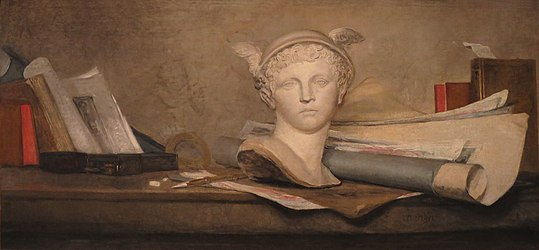 Jean Siméon Chardin - The Attributes of the Arts with a Bust of Mercury - WGA04737.jpg