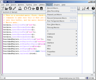 Macro (computer science) - jEdit's macro editor