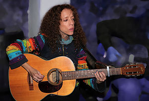 Levin (guitar company) - Levin guitar (steel string) played by blues singer, Jenny Bohman in 2009