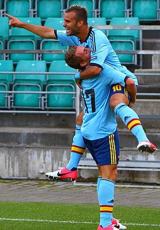Gerard Deulofeu - Deulofeu (underneath) celebrates Jesé's goal against Portugal at the 2012 UEFA European Under-19 Championship.