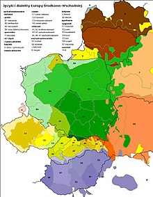 Eastern European countries are shown on a map. The Czech Republic, the westernmost of these, is shaped a bit like a jagged horizontal oval, and it is covered by the color representing the Czech language and, at its borders, a little by languages from Poland and Slovakia.