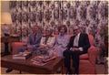 Jimmy Carter, Mrs. Begin, Rosalynn Carter and Menahem Begin visit in the residence of the White House. - NARA - 178447.tif