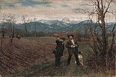 Johann Sperl - Leibl und Sperl auf der Hühnerjagd (1888-1890).jpg