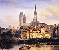 Johannes Bosboom - View of the Paris Quay and the Cathedral at Rouen.JPG