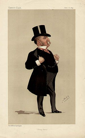 "John Blundell Maple - ""Cheap fares"". Caricature by Spy published in Vanity Fair in 1891"