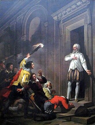 Gaspard II de Coligny - Admiral de Coligny impressing his murderers, by Joseph-Benoît Suvée