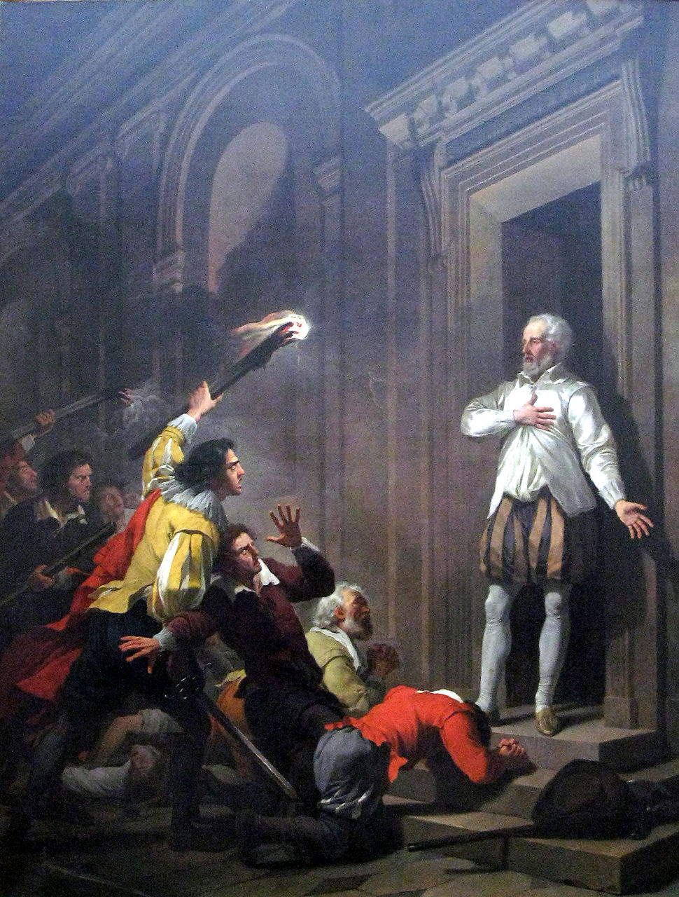 Joseph-Benoît Suvée - Admiral de Coligny impressing his murderers