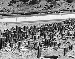 Julfa, Azerbaijan (city) - A photograph taken in 1915 by Aram Vruyr showing part of the medieval Armenian cemetery of Julfa.