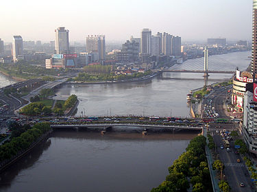 Ningbo along rivers Juncture of three main rivers in Ningbo China.jpg