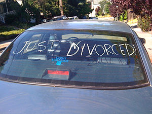 "Divorce - ""Just Divorced!"" hand-written on an automobile's rear window."