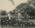KITLV - 157115 - Three women in kimono in the iris garden in Tokyo, Japan - circa 1900.tiff