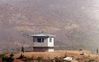 Korean Demilitarized Zone - A portion of the North Korean DMZ seen from the Joint Security Area in January 1976