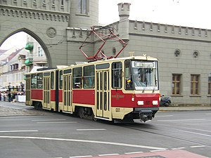 "Trams in Potsdam - A ""Tatra KT4"" at Nauener Tor."
