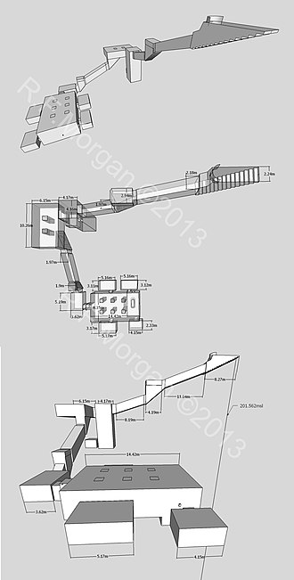 KV43 - Isometric, plan and elevation images of KV43 taken from a 3d model