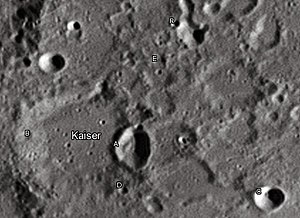 "Kaiser (lunar crater) - Kaiercrater and its satellite craters taken from Earth in 2012 at the University of Hertfordshire's Bayfordbury Observatory with the telescopes Meade LX200 14"" and Lumenera Skynyx 2-1"
