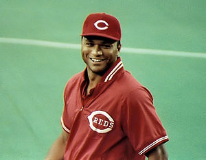 English: Kal Daniels before a Reds/Expos game ...