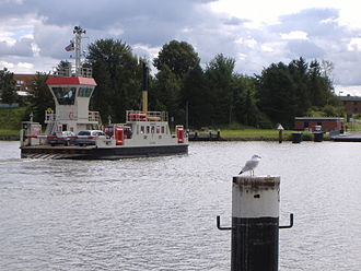 Sehestedt - Ferry across the Kiel Canal at Sehestedt