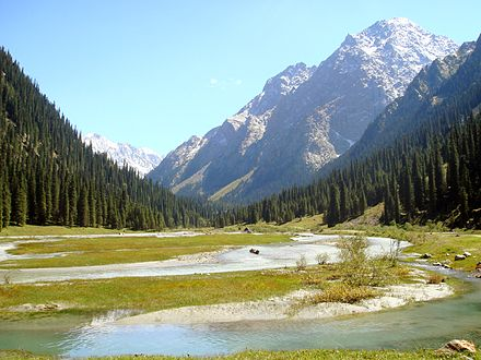 The Tian Shan mountain range in Kyrgyzstan Karakol Valley.jpg