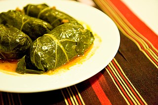 Cabbage roll Dish of cabbage leaves with a filling